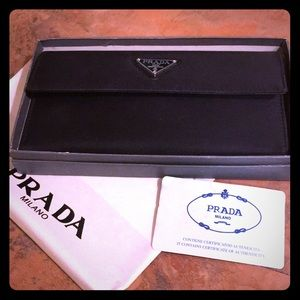 Black Prada wallet in box